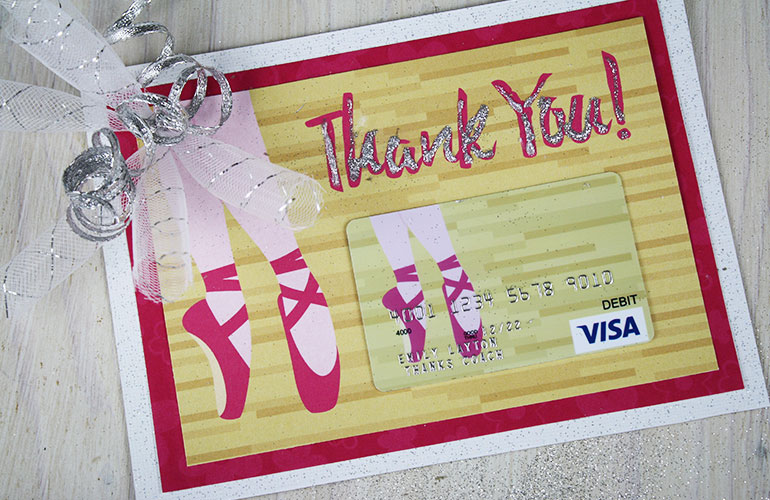 thank you gift card with tutu