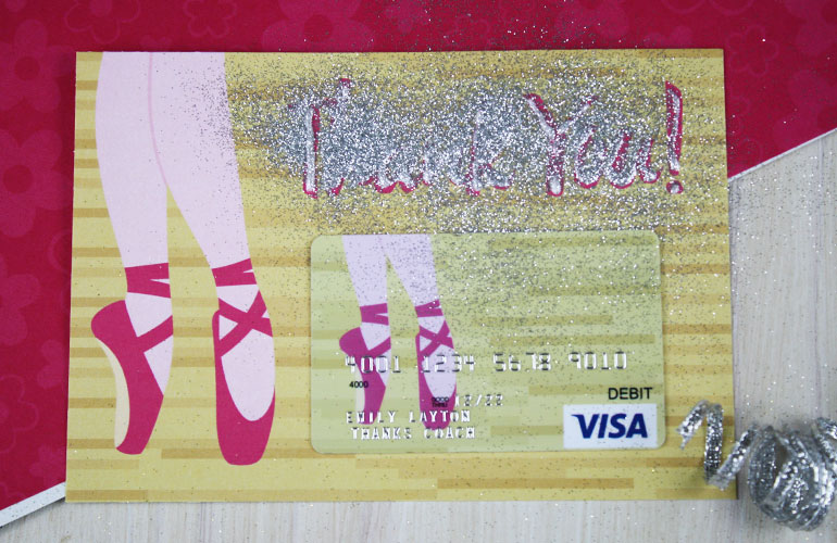 adding glitter to gift card