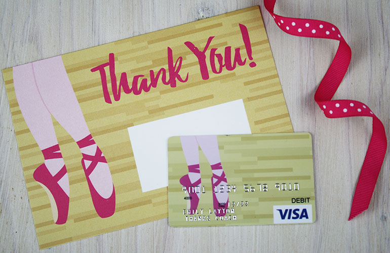 thank you gift card for ballet coach