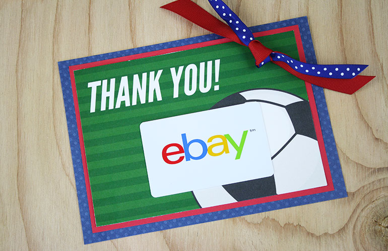 eBay gift card on soccer ball