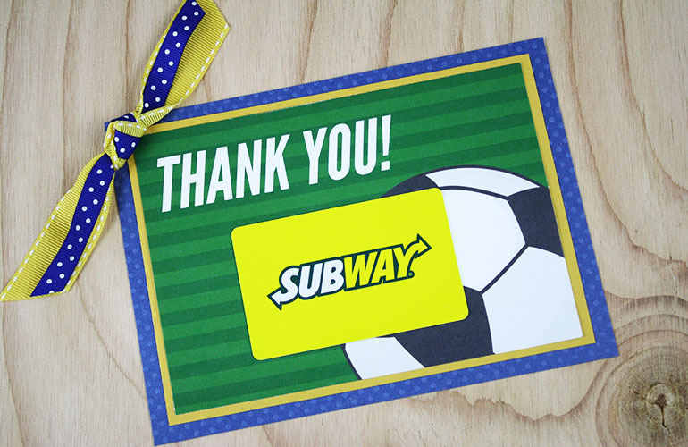 Subway gift card on soccer ball