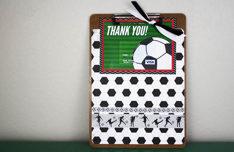 Soccer coach gift card on clipboard