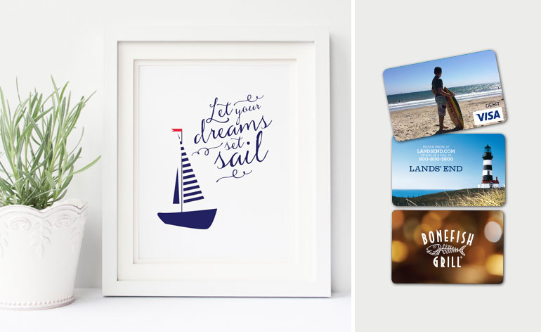 set sail print with gift cards