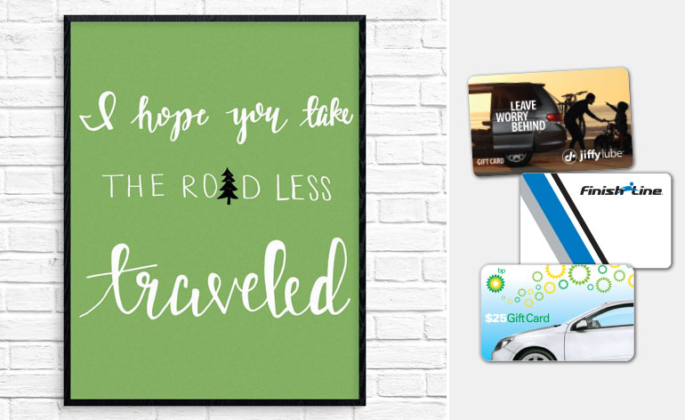 road less traveled print wtih gift cards