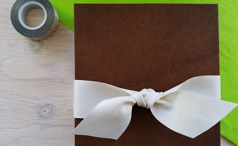 wrapped box with bow