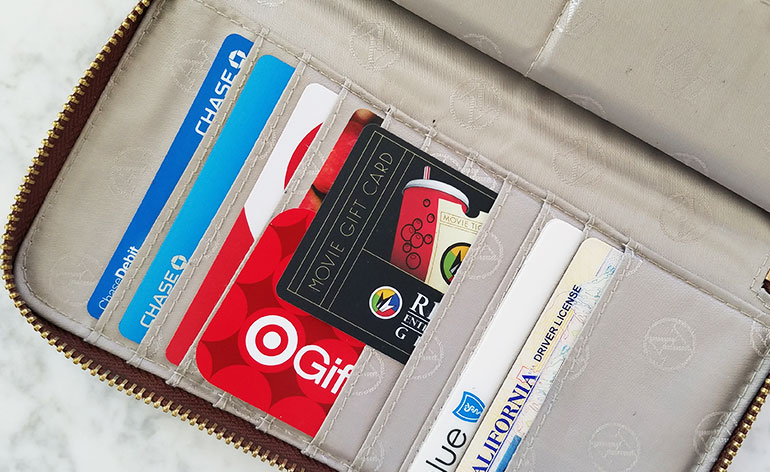 turn gift cards sideways in wallet