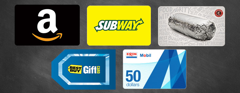 gift cards for high school