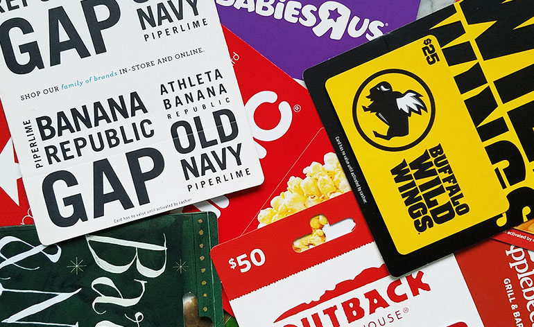 branded gift cards sold at grocery store