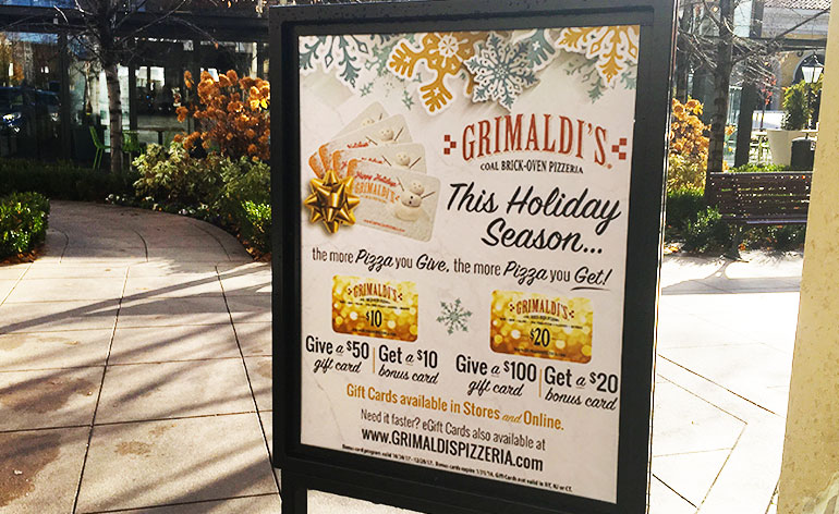 bogo gift card deal at grimaldis - Holiday Gift Card Promotions 2017