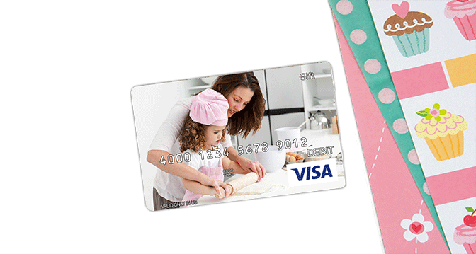 visa gift card with picture of mom on it