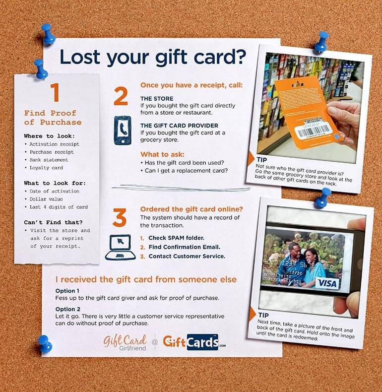 Infographic with Lost Gift Card Tips