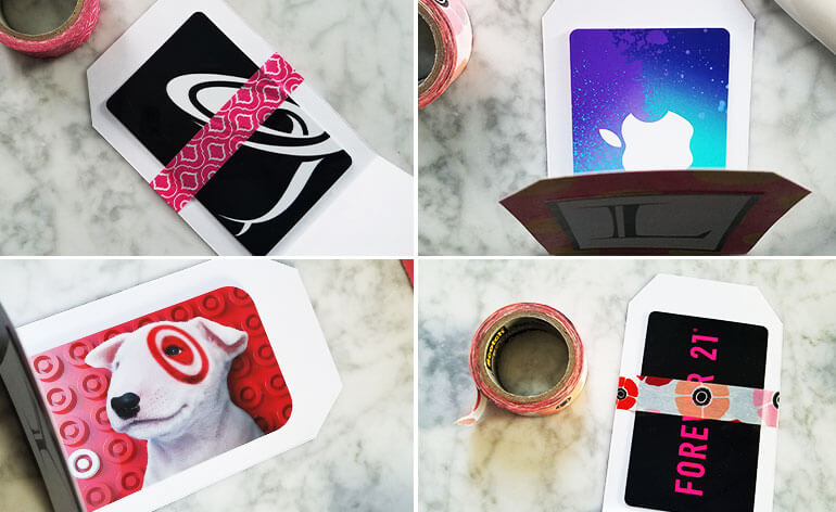 hang each card on the rackfour gift cards for teens