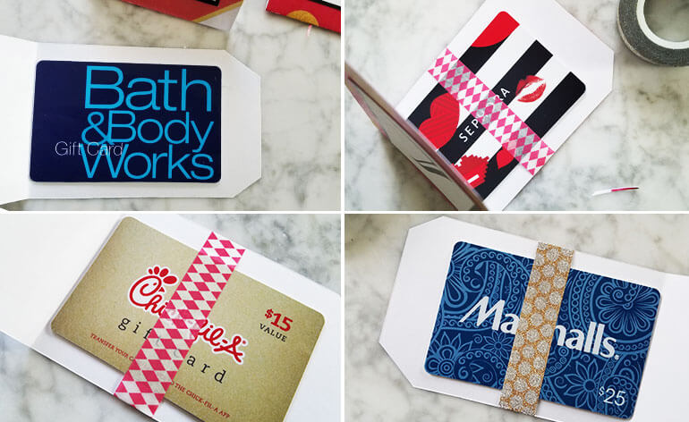 attach gift card with washi tape