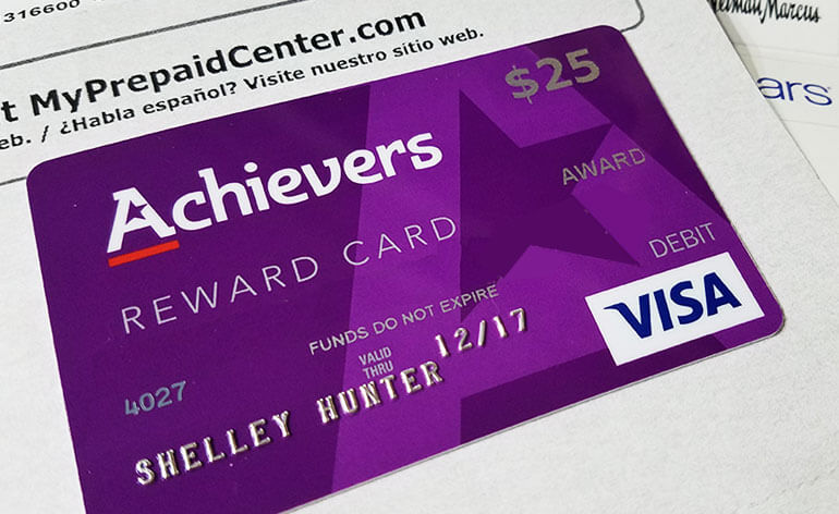 Achievers employee reward card