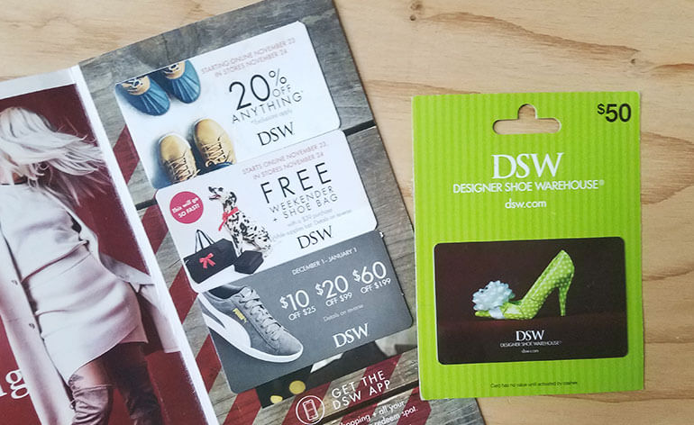 DSW gift card wit DSW coupons