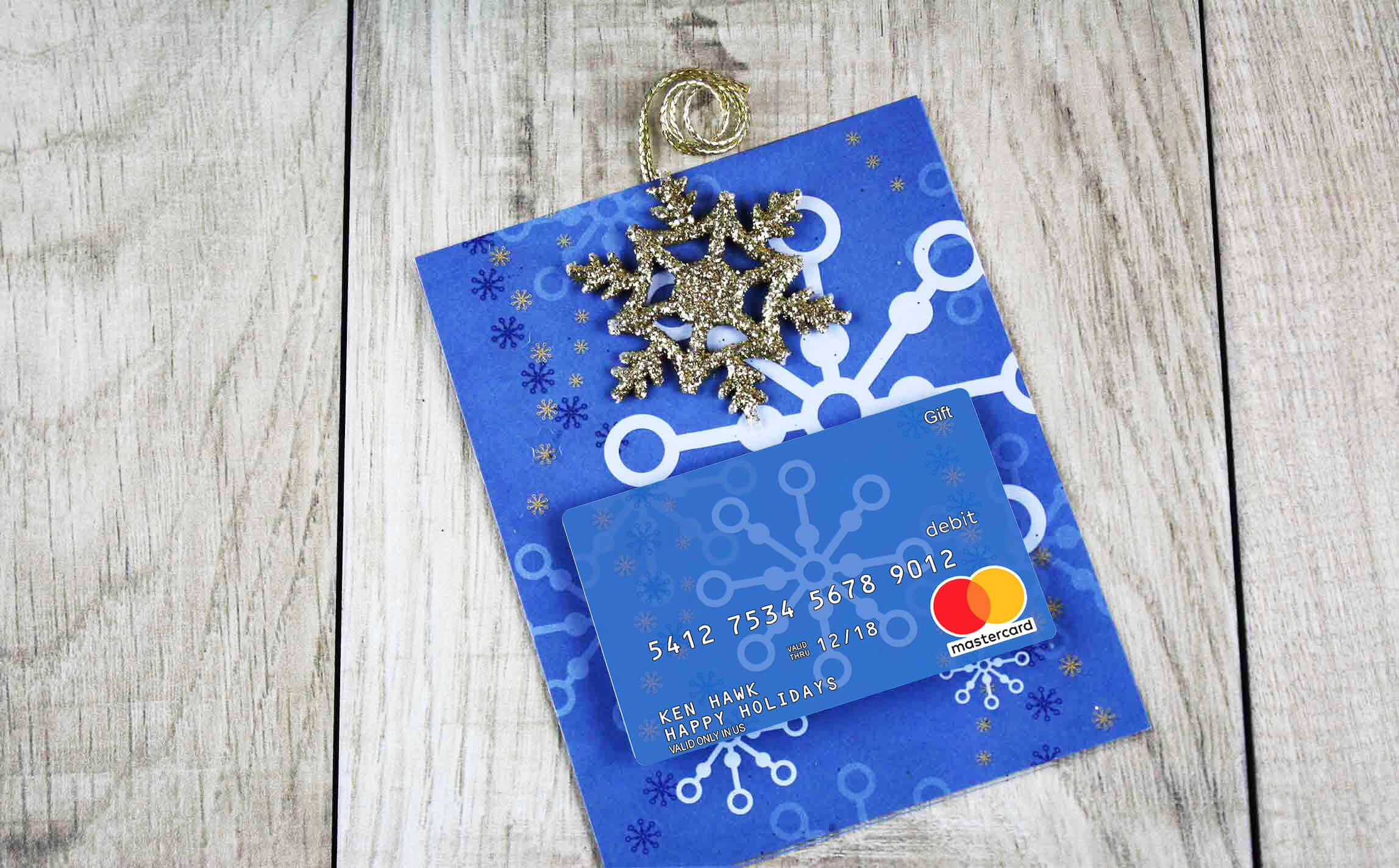 mastercard printed greeting card