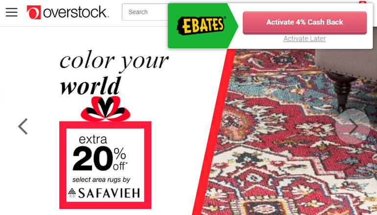 ebates savings with overstock