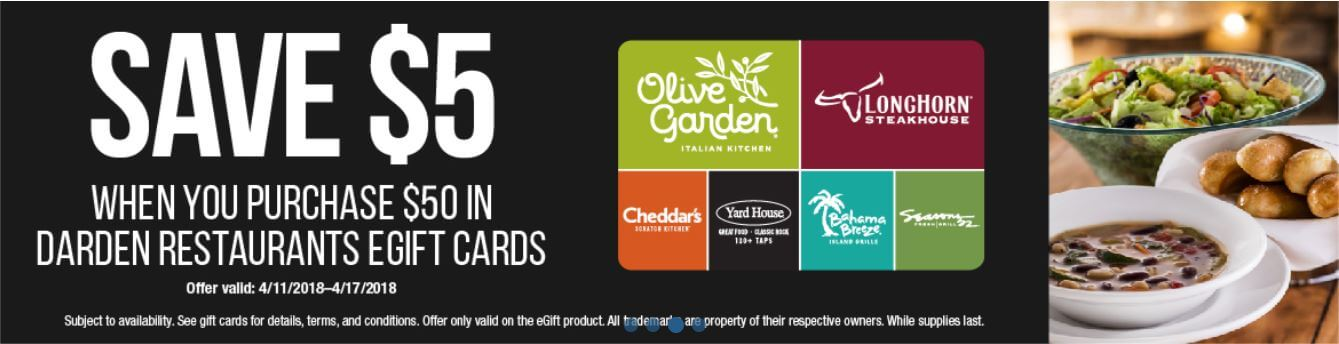 Darden gift card on sale