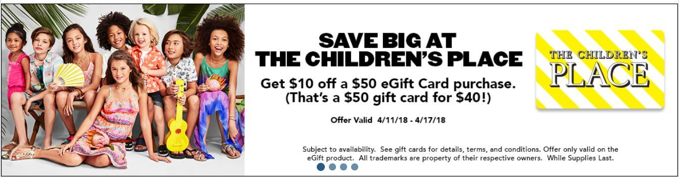 Children's place gift card on sale