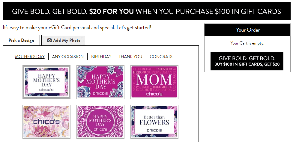 Chico's Mother's Day sale on gift cards