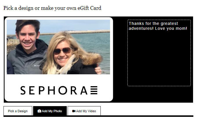 a personal photo added to a sephora egift card
