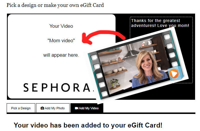 video added to a sephora egift card
