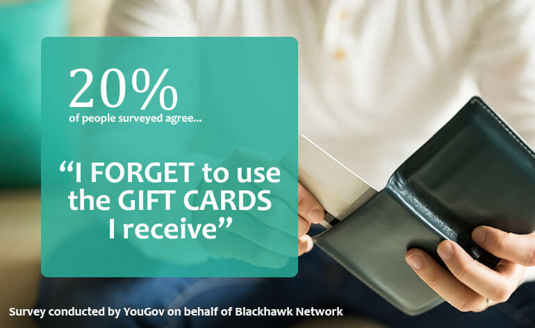 gift card statistic on forgetting to use gift cards