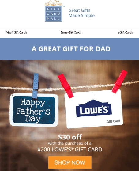 lowes gift cards on sale