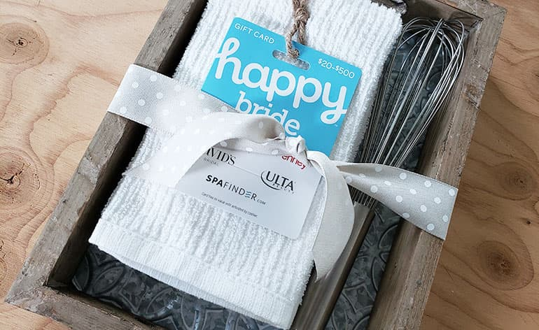 happy bride gift card with wedding gift