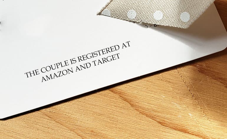 wedding invitation with gift registry info