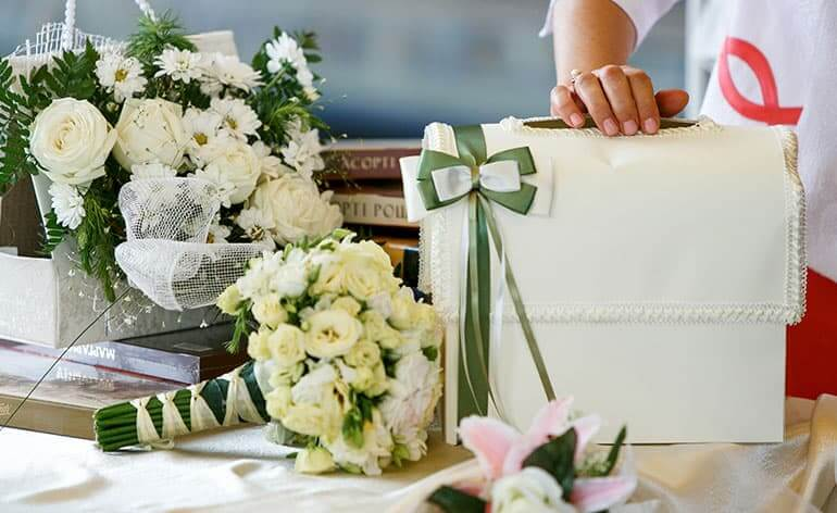 presents on wedding table