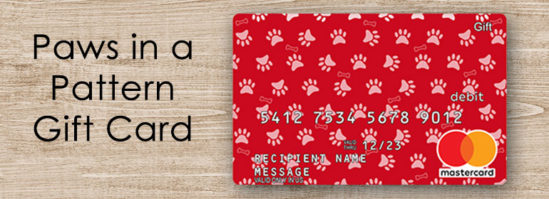paws in a pattern gift card