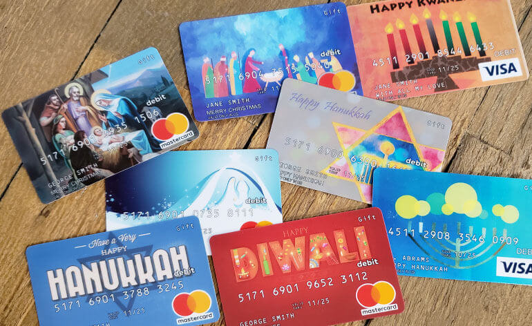 faith-based gift card for Christmas Hanukkah and Diwali