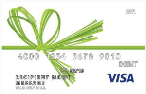 White Visa gift card with a Green Bow