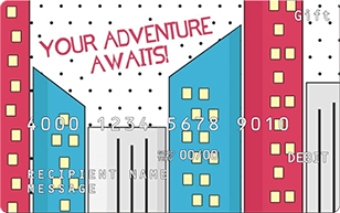 gift card featuring illustrated city with your adventure awaits