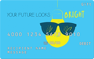 gift card with lightbulb wearing sunglasses - Your future looks bright