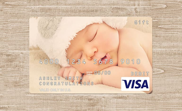 newborn on a custom gift card