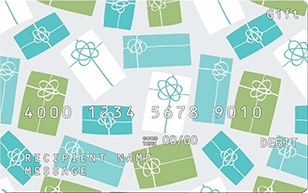gift card with teal, green and white presents
