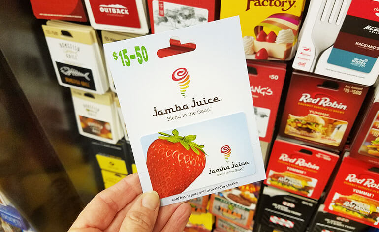 Jamba Juice gift card at the grocery store