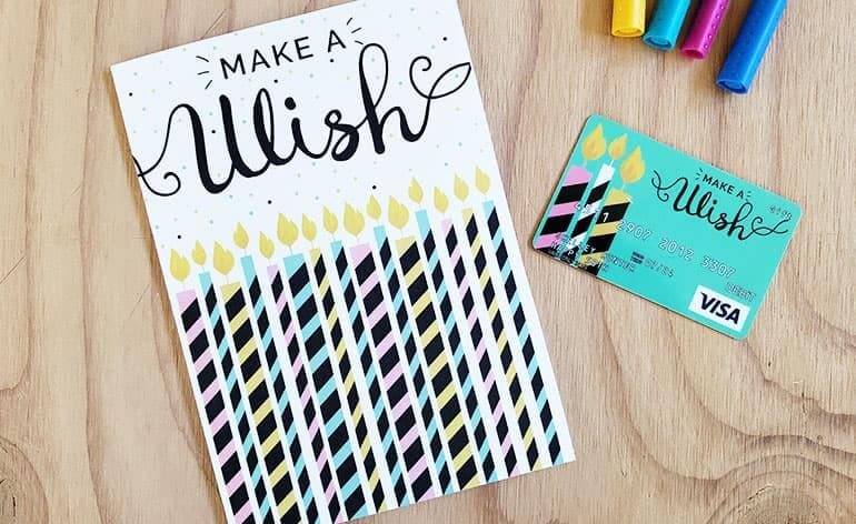 "Printed greeting card says ""Make a Wish"""