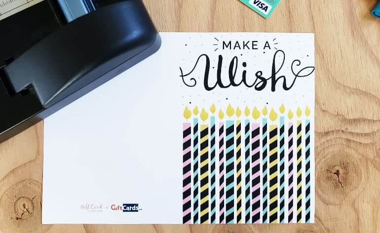 Printed Make a Wish gift card