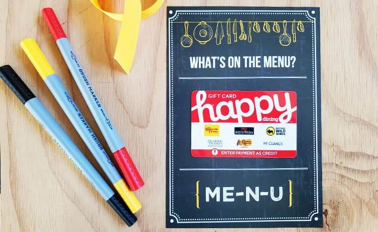 happy dining on free printable gift card holder