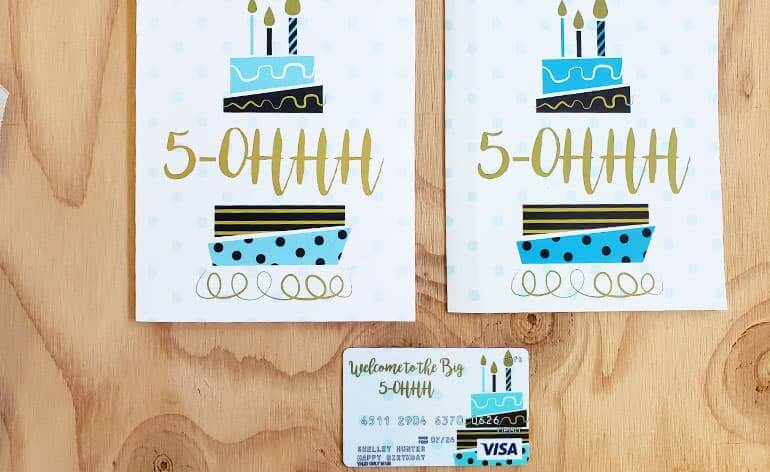 Comparison of milestone birthday card sizes