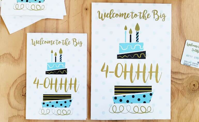 Regular size and large milestone birthday card