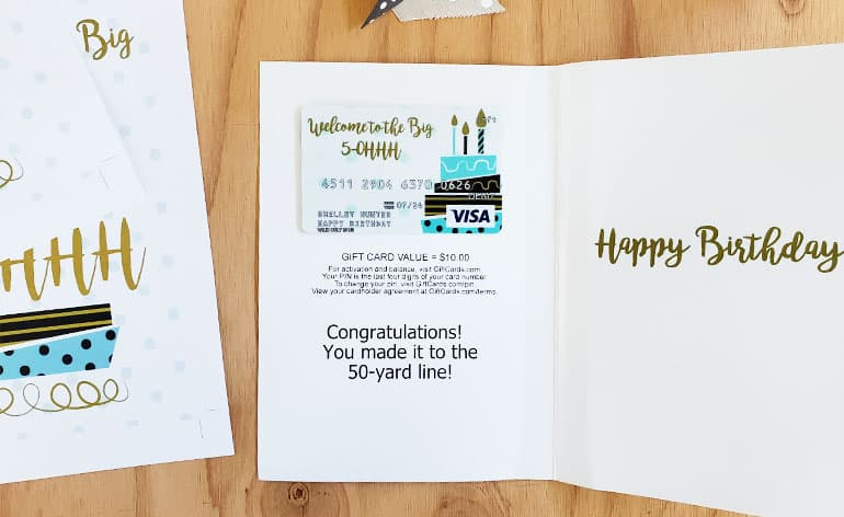 printed milestone card with gift card inside