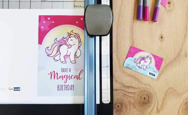 free unicorn birthday card being cut
