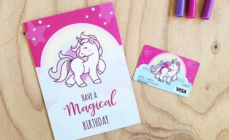 free unicorn birthday card that is folded