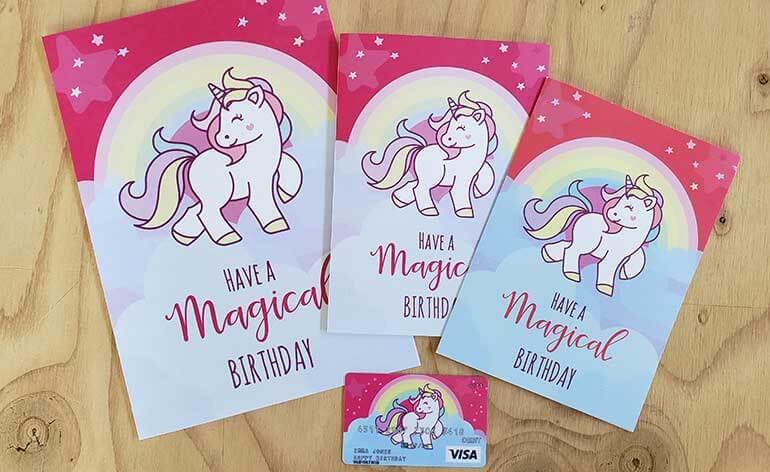 Unicorn birthday gift card with free matching printable greeting card