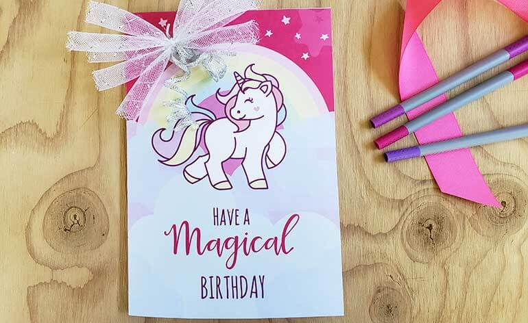 free unicorn birthday card decorated on inside