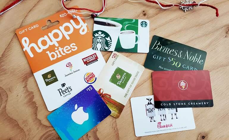 lower value gift cards for holiday tipping
